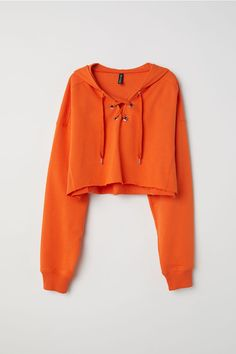 Short lightweight sweatshirt with a lined hood. V-neck with lacing heavily dropped shoulders and long wide sleeves with ribbed cuffs. Ribbed sections at sides and cut-off raw-edge hem. Punk Outfits, Teen Fashion Outfits, Retro Outfits, Cute Casual Outfits, Outfits For Teens, Girl Outfits, Fashion Bags, Trendy Hoodies, Best Friend Outfits