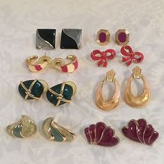 Costume Jewelry Lot Pierced Earrings Vintage to Modern Enamel Drop Half Hoop Bow | eBay