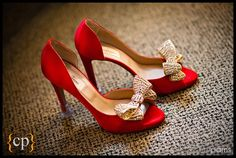 red satin slippers w/bows
