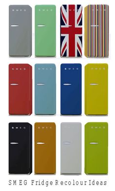 The classic SMEG fridge. Fully recolourable, also including Union Jack and Stripes recolours. By cazaurpt for TSR. TSRAA.  Found in TSR Category 'Large Appliances'