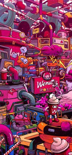 Supersize Them: Fast Food Illustrations by Mr. Cartoon Wallpaper, Graffiti Wallpaper Iphone, Pop Art Wallpaper, Trippy Wallpaper, Screen Wallpaper, Wallpaper Quotes, Graffiti Art, Graffiti Doodles, Art And Illustration