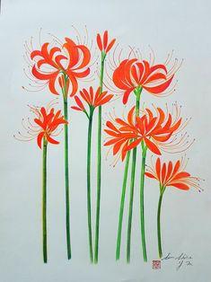 색연필화 꽃무릇 : 네이버 블로그 Embroidery Flowers Pattern, Crewel Embroidery, Hand Embroidery Designs, Flower Patterns, Fabric Paint Shirt, Fabric Painting, Feather Drawing, Fabric Paint Designs, Hand Painted Fabric