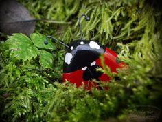Wooden ladybug brooch