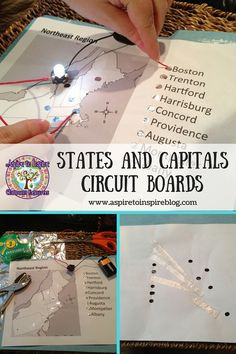 Instructions for DIY U. states and capitals circuit boards Social Studies Activities, Teaching Social Studies, Science Activities, Educational Activities, Kindergarten Science, Math Games, Physics Projects, Stem Projects, Circuit Projects