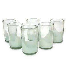 Blown glass tumblers, 'White Splash' (set of 6) - Fair Trade Handblown White Glass 16 oz Drinkware Set of 6