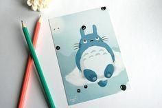 Art, Totoro - Carte postale illustrée est une création orginale de germainecaillou sur DaWanda