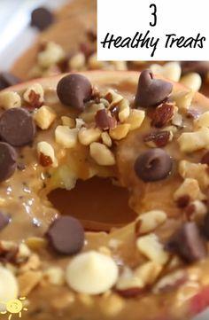 3 HEALTHY TREATS #snack #apple #peanutbutter #nuts #chocolate #recipe