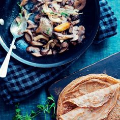 Chestnut Crêpes with Creamy Mushrooms recipe | Epicurious.com