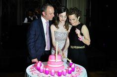 I love this simple Bat Mitzvah Candle Lighting & Pink Cake