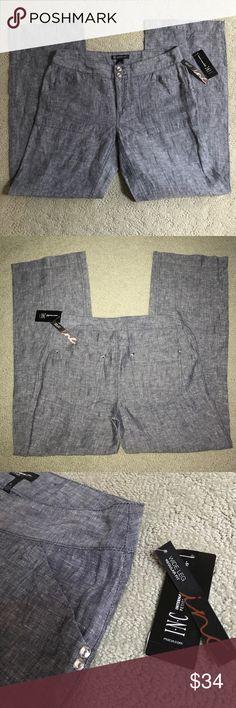 "🆕INC✨Linen & Rhinestone Pants Light blue denim-look linen with rhinestone button accents. Regular fit, wide leg. Approx 31"" waist, 29"" inseam. INC International Concepts Pants"