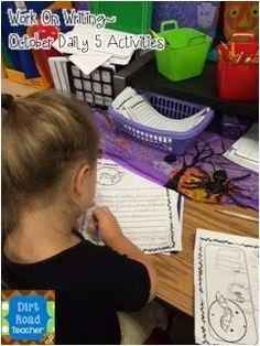 The October Work on Writing center has turned some reluctant writers into creative authors! I meet with them once a week to discuss a prize piece during our conferencing time. Daily 5 Activities, All About Me Activities, Writing Activities, Back To School Teacher, School Fun, School Ideas, Authors, Writers, Guided Reading Lessons