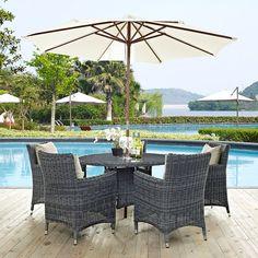 Summon 7 Piece Outdoor Patio Sunbrella® Dining Set In Antique Canvas Beige