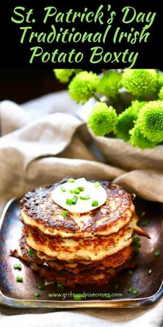Celebrate St. Patrick's Day and put a smile on your face and a jig in your step with Traditional Irish Potato Boxty or potato cakes! Boxty are delicious potato pancakes, crispy on the outside and soft and fluffy on the inside and made with a combination of mashed potatoes and raw grated potatoes. via @gritspinecones
