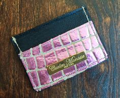 Metallic Croco Leather Slim Wallet/Card Case by CarlenManasseNY