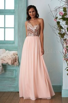 B203013 Long One Shoulder Sequin & Poly Chiffon Bridesmaid Dress