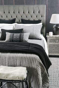 Featuring the Medina bedspread with Sashiko black comforter and Fez cushion Bed Linen Design, Bed Design, Black Comforter, California King Mattress, Bed Slats, New Beds, Fine Linens, Bedspread, Contemporary Interior