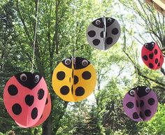 Lovely simple decorations for outside from trees or even to mark a path inside. #ladybug #bug #ladybird