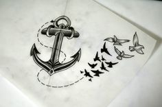 Wonderful Black Ink Anchor With Flying Birds Tattoo Design