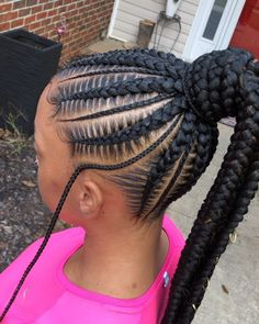"braidsbychinia ~ Book ""Stitch Braids into a Ponytail + Small Braids in Between + Waist Length"" for this look! Click the link in my bio to book. Box Braids Hairstyles, Braided Ponytail Hairstyles, Braided Hairstyles For Black Women, Braids For Black Hair, Girl Hairstyles, Braids For Black Women Cornrows, Braids For Black Kids, Cornrows With Box Braids, Protective Hairstyles"