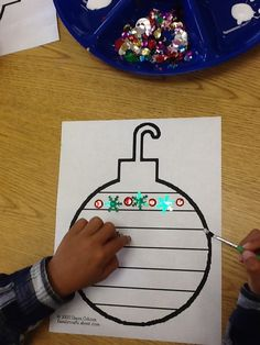 Work on patterns. Decorate the ornament with a fun pattern on each line. Link to… Work on patterns. Decorate the ornament with a fun pattern on each line. Link to free ornament template in the post. Preschool Christmas, Noel Christmas, Christmas Crafts For Kids, Preschool Crafts, Winter Christmas, Holiday Crafts, Christmas Patterns, Christmas Kitchen, Christmas Ornaments