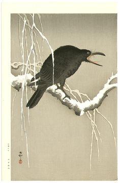 Ohara Koson: Screaming Crow - Early 20th century