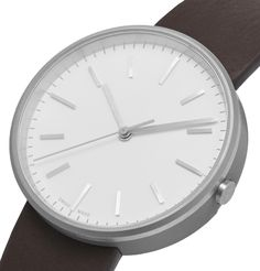 Uniform Wares Precidrive Stainless Steel And Leather Watch In White Uniform Wares, Dark Brown Leather, Minimalist Design, Quartz, Stainless Steel, Mens Fashion, Watches, Crystals, Accessories