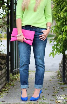 Brights {hot pink clutch, cobalt heels, + lime sweater}