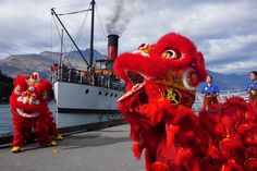 The TSS Earnslaw was just treated to a traditional Chinese Lion Dance - Happy Chinese New Year everyone! Chinese Lion Dance, Happy Chinese New Year, Traditional Chinese, New Zealand, Shit Happens, Fictional Characters