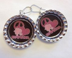 Pink Love and Peace Cowgirl Bottle Cap by StarBoundWestern on Etsy Bottle Cap Earrings, Drop Earrings, Pink Love, Pink Brown, Peace And Love, Gypsy, Country, Trending Outfits, Unique Jewelry