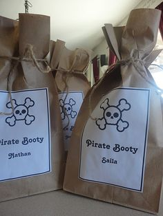 Pirate party- jake and the never land - cute Pirate Booty Bag ingredients, cute food names, etc // Boy Birthday Party Ideas 4th Birthday Parties, Birthday Fun, Birthday Ideas, Birthday Supplies, Party Supplies, Pirate Party Favors, Pirate Theme, Pirate Birthday Cake, Birthday Cakes