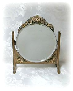 Barbola Mirror  Vintage Swivel Frame 1930s Barbola by Skylife