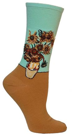 This is seriously on my wishlist, certain male person whose name rhymes with Rat. [Van Gogh Sunflowers Socks Green]