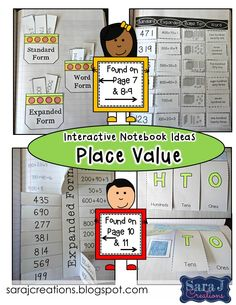 Interactive Notebook - Place Value.  Includes 12 activities covering topics expanded form, word form, base ten blocks, standard form, greater than/less than, and value of a number.  Common Core aligned for second grade. $ 50% off for the first 48 hours.