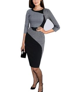 b2bc82c54650 Aimur Womens Houndstooth Patchwork OL Casual Long Sleeve Pencil Dress Black  ** New and awesome