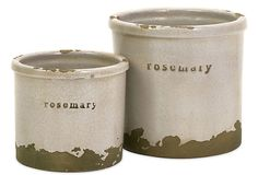 2 red clay and sand rosemary pots with crackled green and white glazes. Product: Small and large potConstruction Material: Red clay and sandColor: Distressed white and green Features: Crackle glaze Dimensions: Small: H x Diameter Large: H x Diameter Rosemary Herb, Sage Herb, Tidy Kitchen, Kitchen Things, Kitchen Stuff, Kitchen Ideas, Kitchen Decor, Herb Pots, Pot Sets