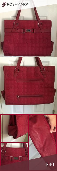✨SALE✨Liz Claiborne Big Quilted Tote..TONS/STORAGE This bag is Awesome!!!! It has two compartments inside one with a leather Velcro strap to close off. The other with a zipper pocket, open big pocket, cell phone pocket with strap to hold in and places for pens and credit cards... Leather pockets on each side of outside of bag with leather on bottom of bag and top of handles...it did have a big spot inside big compartment..But all cleaned with soap and water looks great!!!!! Bundle to Save…