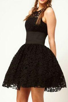 Lace Cut-out Belted Black Bubble Dress