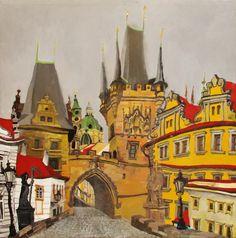 Prague, Pont du Charles. Acrylique et huile sur toile, 60 x 60 cm. 2016