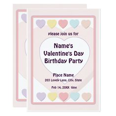 Valentine's Day Pastel Birthday Party N Card