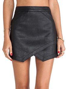 Black Asymmetrical PU Leather Skirt