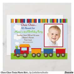 Choo Choo Train Photo Birthday Party Invitations Trains Birthday Party, Girl 2nd Birthday, Train Party, 2nd Birthday Parties, Birthday Ideas, 2nd Birthday Invitations, Custom Invitations, Invitation Cards, Invites