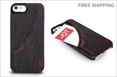 Denim iPhone 5/5s Hardshell Case with Storage Pocket $13 + Free Shipping (Gift Idea) - http://frugalorfree.com/deals/denim-iphone-55s-hardshell-case-with-storage-pocket-13-free-shipping-gift-idea/