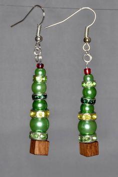 Christmas Tree Earrings - Abstract Seasonal Earrings with Crystals.