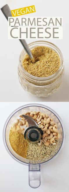 This vegan homemade parmesan cheese is nutty, chee. This vegan homemade parmesan cheese is nutty, cheesy, and delicious + is loaded with important vitamins and minerals for a cheese that everyone will l. Vegan Cheese Recipes, Vegan Parmesan Cheese, Vegan Sauces, Vegan Foods, Vegan Dishes, Raw Food Recipes, Dairy Free Recipes, Vegan Gluten Free, Vegetarian Cheese