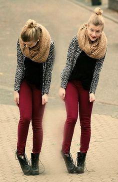 wine pants, leopard print, infinity scarf, boots, black, bun, wine lips :)))