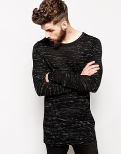 ASOS Long Sleeve T-Shirt In Longline & Textured Fabric