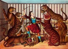 Gibson & Co. Circus Print  The Lion Queen c1874 by RenfieldsGarden, $9.99
