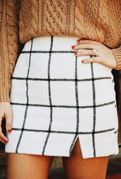 Grid print + cable knit.