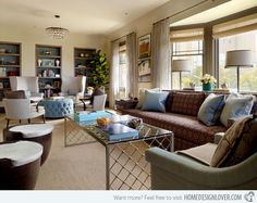 17 Long Living Room Ideas | Home Design Lover - like the white chairs in the background