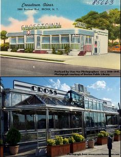 """An old-timey four-color linen texture 3 1/2 x 5 1/2 in commercial postcard (circa 1930-1945) of the Crosstown Diner in Schuylerville that was designed and printed by Stan-Mar Photographers in The Bronx (top). The photograph is from the Crosstown Diner website (bottom). I don't know about you, but I like the """"Then"""" much better than the """"Now."""""""